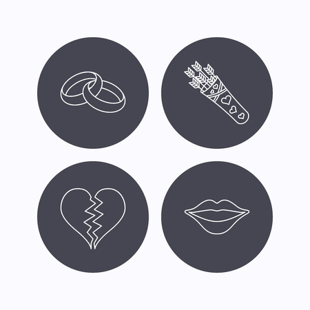amour: Broken heart, and wedding rings icons. Valentine amour arrows linear sign. Flat icons in circle buttons on white background. Vector
