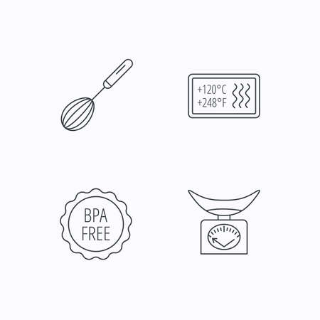 bpa: Kitchen scales, whisk and heat-resistant icons. BPA free linear sign. Flat linear icons on white background. Vector