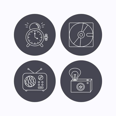 clock radio: Radio, retro camera and alarm clock icons. Hard disk linear sign. Flat icons in circle buttons on white background. Vector Illustration