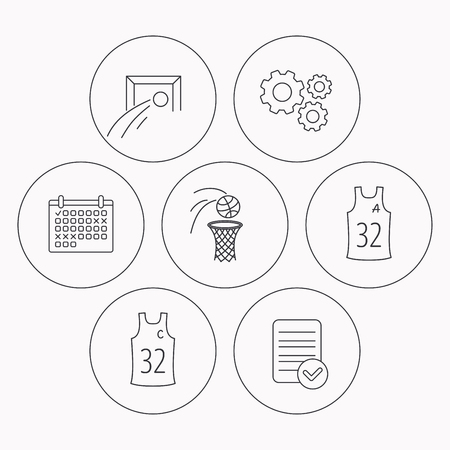 assistant: Football, basketball and team captain icons. Team assistant linear sign. Check file, calendar and cogwheel icons. Vector