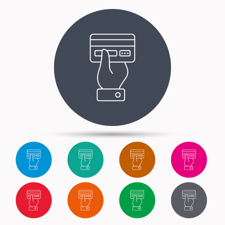 cashless: Credit card icon. Giving hand sign. Cashless paying or buying symbol. Icons in colour circle buttons. Vector