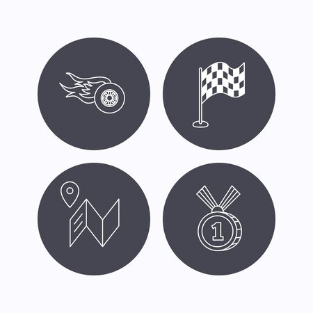 race winner: Race flag, map and winner award icons. First place medal, wheel on fire linear signs. Flat icons in circle buttons on white background. Vector Illustration