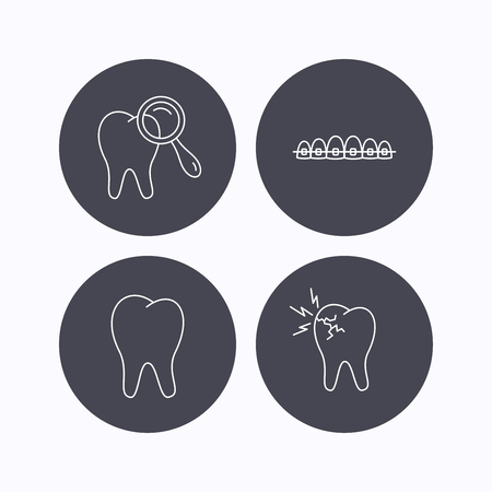 dental braces: Tooth, dental braces and toothache icons. Dental diagnostics linear sign. Flat icons in circle buttons on white background. Vector