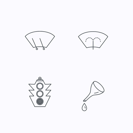 wiper: Motor oil change, traffic lights and wiper icons. Washing window, windscreen wiper linear signs. Flat linear icons on white background. Vector Illustration