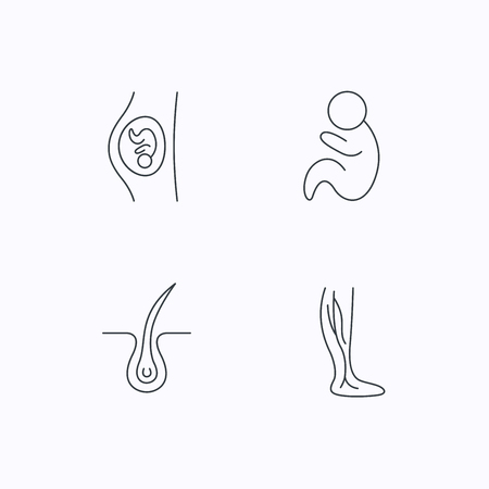 pediatrics: Pregnancy, pediatrics and phlebology icons. Trichology, vein varicose linear signs. Flat linear icons on white background. Vector