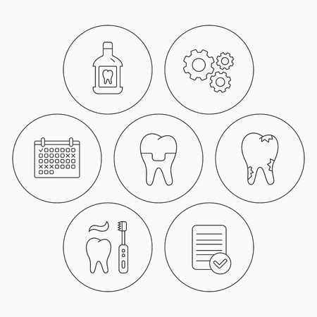 paradontosis: Caries, dental crown and mouthwash icons. Brushing teeth linear sign. Check file, calendar and cogwheel icons. Vector