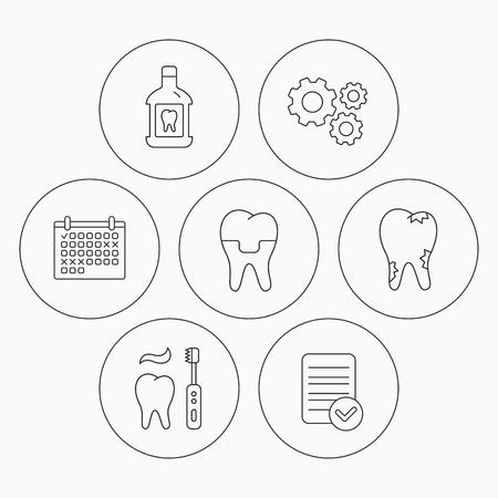 enjuague bucal: La caries dental, enjuague bucal de la corona y los iconos. El cepillado de los dientes señal lineal. Comprobador de archivo, calendario y los iconos de la rueda dentada. Vector