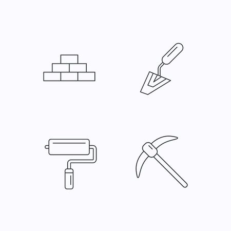mining icons: Brickwork, spatula and mining icons. Paint roller linear sign. Flat linear icons on white background. Vector Illustration