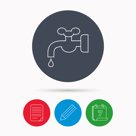 water supply: Water supply icon. Crane or Faucet with drop sign. Calendar, pencil or edit and document file signs. Vector
