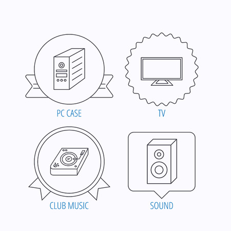 pc case: Sound, club music and pc case icons. TV linear sign. Award medal, star label and speech bubble designs. Vector