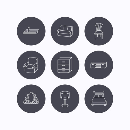 chest wall: Double bed, table lamp and armchair icons. Chair, lamp and vintage mirror linear signs. Wall shelf, sofa and chest of drawers furniture icons. Flat icons in circle buttons on white background. Vector