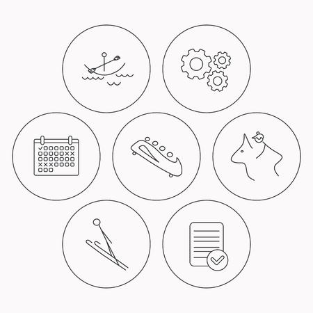 boating: Boating, horseback riding and bobsled icons. Ski jumping linear sign. Check file, calendar and cogwheel icons. Vector