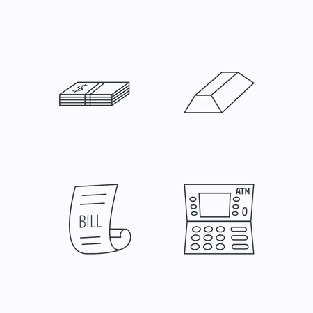 gold bar: ATM, cash money and bill icons. Gold bar linear sign. Flat linear icons on white background. Vector