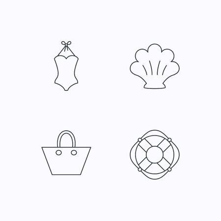 thin shell: Ladies handbag, shell and swimsuit icons. Lifebuoy linear sign. Flat linear icons on white background. Vector Illustration