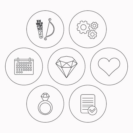ring file: Love heart, brilliant and engagement ring icons. Valentine bow linear sign. Check file, calendar and cogwheel icons. Vector