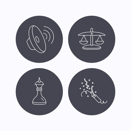 shah: Scales of justice, sound and strategy icons. Slapstick linear sign. Flat icons in circle buttons on white background. Vector Illustration
