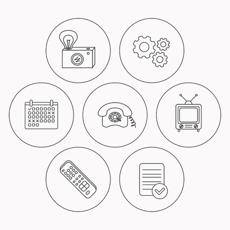 tv remote: Retro camera, TV remote and phone call icons. Vintage TV linear sign. Check file, calendar and cogwheel icons. Vector Illustration
