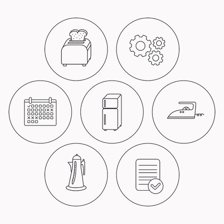 bread maker: Toaster, refrigerator and iron icons. Kettle linear sign. Check file, calendar and cogwheel icons. Vector