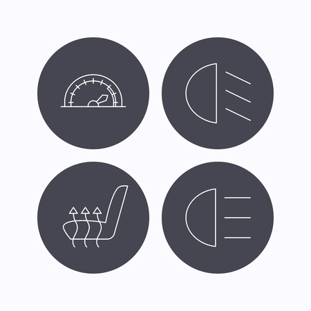 heated: Speedometer, passing fog lights and heated seat icons. High beams linear sign. Flat icons in circle buttons on white background. Vector Illustration