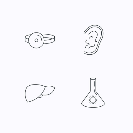 analyses: Lab bulb, medical mirror and liver organ icons. Ear linear sign. Flat linear icons on white background. Vector