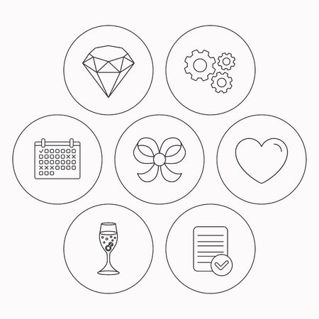 shopping champagne: Love heart, brilliant and engagement ring icons. Bow-knot linear sign. Check file, calendar and cogwheel icons. Vector Illustration