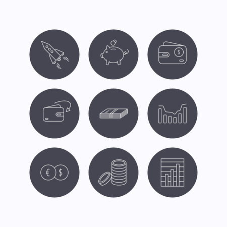 deceleration: Piggy bank, cash money and startup rocket icons. Wallet, currency exchange and dollar usd linear signs. Chart, coins and dynamics icons. Flat icons in circle buttons on white background. Vector
