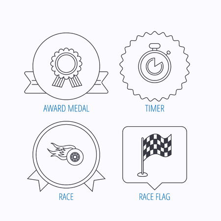 race winner: Race flag, winner medal and timer icons. Wheel on fire linear sign. Award medal, star label and speech bubble designs. Vector