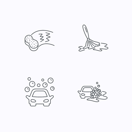 auto washing: Car wash icons. Automatic cleaning station linear signs. Hand wash, sponge flat line icons. Flat linear icons on white background. Vector