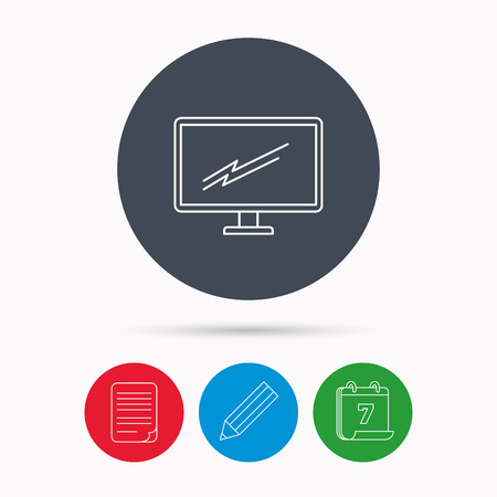 led tv: PC monitor icon. Led TV sign. Widescreen display symbol. Calendar, pencil or edit and document file signs. Vector Illustration