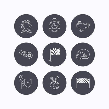 race winner: Race flag and speed icons. Winner medal, motorcycle helmet and timer linear signs. Map navigation flat line icons. Flat icons in circle buttons on white background. Vector Illustration