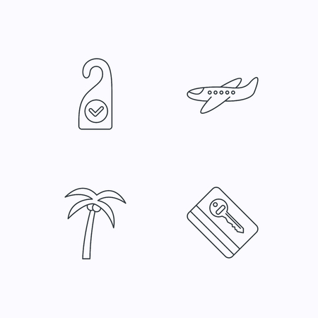 5 door: Palm tree, air-plane and e-key icons. Clean room linear sign. Flat linear icons on white background. Vector
