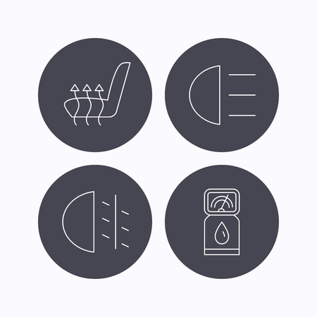 heated: Petrol station, fog lights and heated seats icons. Gas fuel station linear sign. Flat icons in circle buttons on white background. Vector Illustration