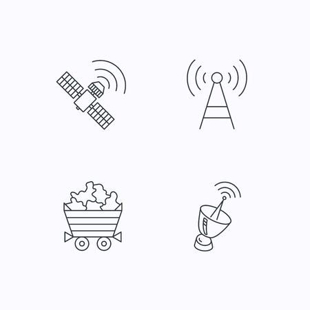 minerals: Telecommunication, minerals and antenna icons. GPS satellite linear sign. Flat linear icons on white background. Vector