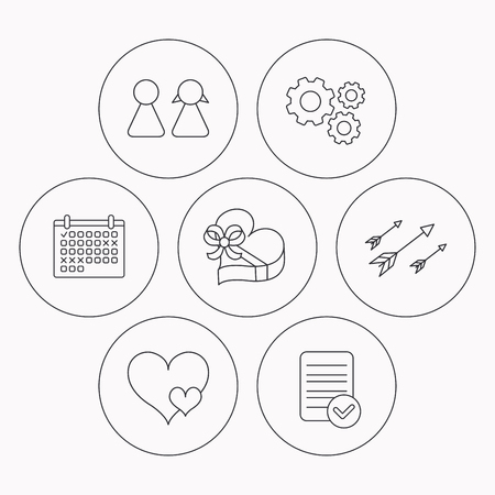 file box: Love heart, gift box and couple icons. Arrows linear sign. Check file, calendar and cogwheel icons. Vector Illustration