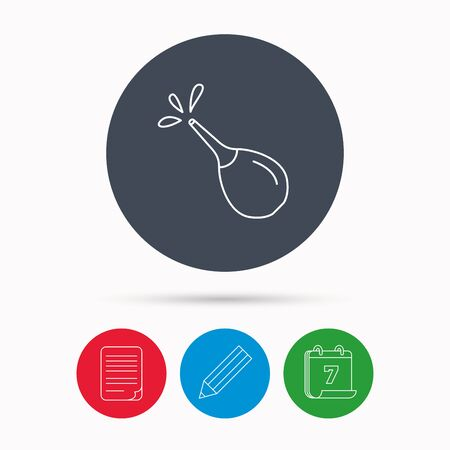 constipation: Medical clyster icon. Enema with water drops sign. Calendar, pencil or edit and document file signs. Vector Illustration