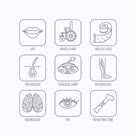 vision loss: Eye, neurology brain and vein varicose icons. Wheelchair, bone fracture and trichology linear signs. Weight loss, lips and surgical lamp icons. Flat linear icons in squares on white background. Vector
