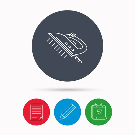 housework: Steam ironing icon. Iron housework tool sign. Calendar, pencil or edit and document file signs. Vector