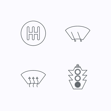 wiper: Traffic lights, manual gearbox and wiper icons. Heated window, manual transmission linear signs. Washing window icon. Flat linear icons on white background. Vector Illustration