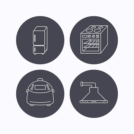 warmer: Refrigerator, multicooker and oven icons. Kitchen hood linear sign. Flat icons in circle buttons on white background. Vector