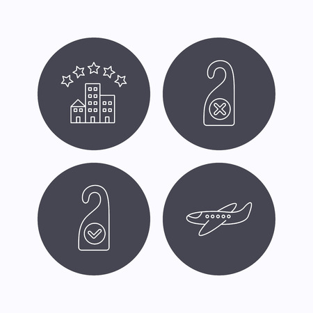 5 door: Hotel, airplane and do not disturb icons. Clean room linear sign. Flat icons in circle buttons on white background. Vector