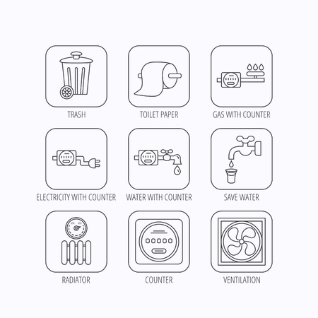 gas radiator: Ventilation, radiator and water counter icons. Toiler paper, gas and electricity counters linear signs. Trash icon. Flat linear icons in squares on white background. Vector