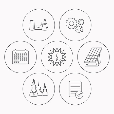 collector: Solar collector energy, factory and industries icons. Solar energy linear signs. Check file, calendar and cogwheel icons. Vector