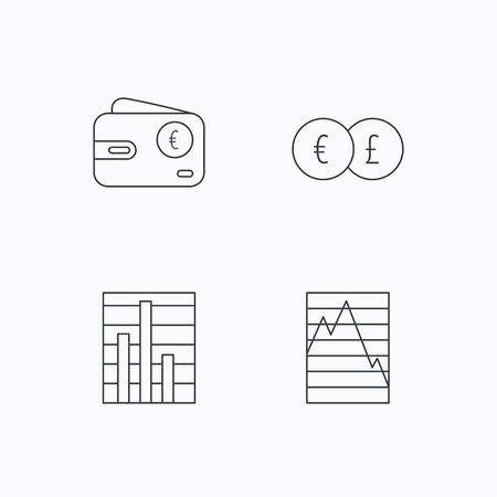deceleration: Currency exchange, chart and euro wallet icons. Statistics graph linear signs. Flat linear icons on white background. Vector