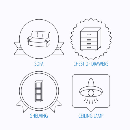 chest of drawers: Sofa, ceiling lamp and shelving icons. Chest of drawers linear sign. Award medal, star label and speech bubble designs. Vector Illustration