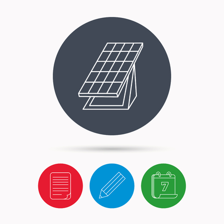 solar collector: Solar collector icon. Sunlight energy generation sign. Innovation battery power symbol. Calendar, pencil or edit and document file signs. Vector