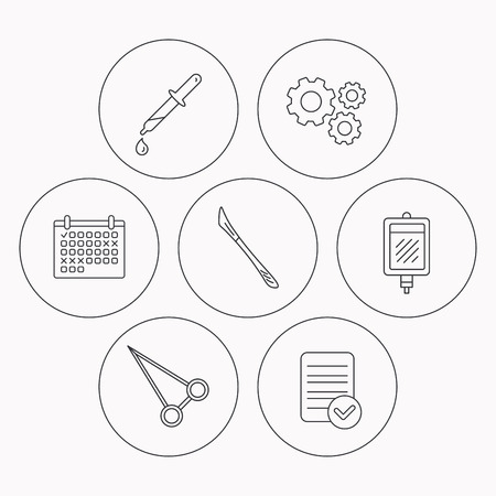 forceps: Blood donation, scalpel and pipette icons. Peans forceps linear sign. Check file, calendar and cogwheel icons. Vector