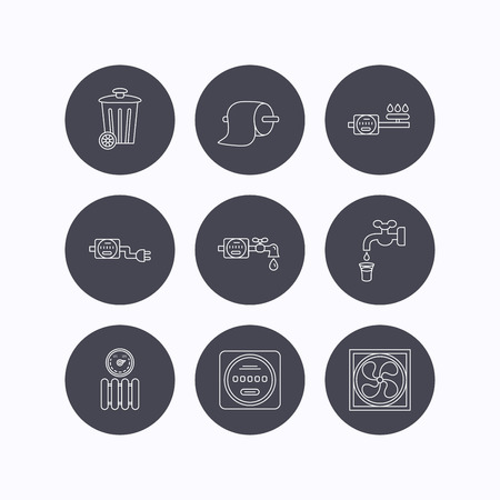 canalization: Ventilation, radiator and water counter icons. Toiler paper, gas and electricity counters linear signs. Trash icon. Flat icons in circle buttons on white background. Vector