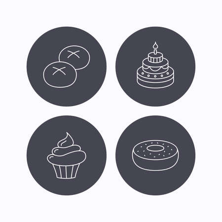 bread rolls: Cupcake, cake and bread rolls icons. Sweet donut linear sign. Flat icons in circle buttons on white background. Vector