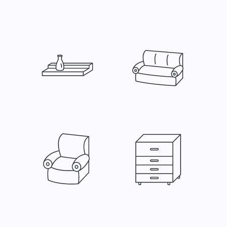 chest wall: Sofa, wall shelf and armchair icons. Chest of drawers linear sign. Flat linear icons on white background. Vector