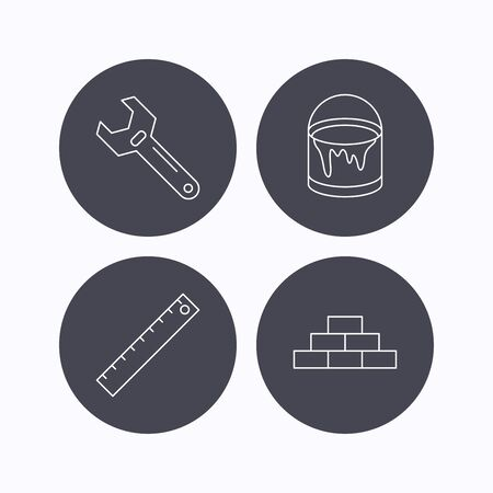 adjustable: Brickwork, measurement and adjustable wrench icons. Bucket of paint linear sign. Flat icons in circle buttons on white background. Vector